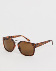 French Connection Square Sunglasses In Tort Brown