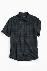 Urban Outfitters Uo Blackwatch Plaid Short Sleeve Button Down Shirt Green