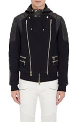 Balmain Men's Leather And French Terry Moto Jacket Black