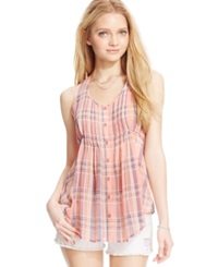 American Rag Juniors' Plaid Button Front Pintuck Blouse Coral Ice