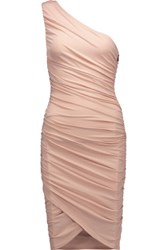 Alice Olivia Deedee One Shoulder Ruched Stretch Jersey Dress Pastel Pink