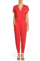 Petite Women's Loveappella Short Sleeve Wrap Top Jumpsuit Bright Red