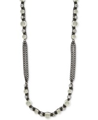 Givenchy Hematite Tone Imitation Pearl And Crystal Long Statement Necklace Gray