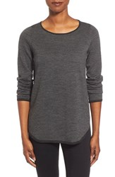 Women's Eileen Fisher Ballet Neck Merino Shirttail Sweater