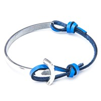 Anchor And Crew Leather Silver Galleon Braceletblue 23Cm