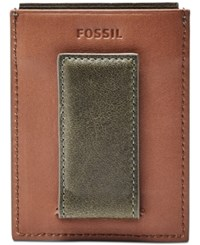 Fossil Men's Ethan Leather Rfid Money Clip Card Case Green