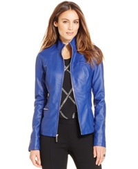 Alfani Faux Leather Bomber Jacket Only At Macy's Havana Blue