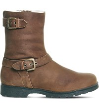 Office Lam Lam Nubuck Leather Biker Boots Brown Nubuck