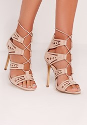 Missguided Laser Cut Rope Lace Up Heeled Sandal Nude Beige