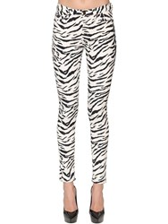 Saint Laurent Skinny Zebra Print Cotton Denim Jeans Black