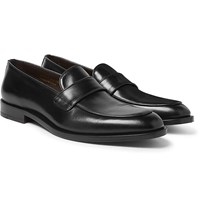 Canali Leather Penny Loafers Black