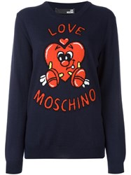 Love Moschino Heart Jumper Blue