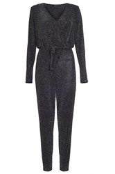 Quiz Black Glitter Texture Jumpsuit Black