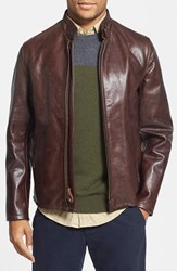 Men's Schott Nyc 'Casual Cafe Racer' Slim Fit Leather Jacket Brown