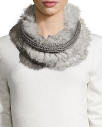 Hat Attack Rabbit Fur Knit Infinity Scarf Grey Natur