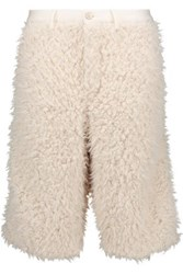 Y 3 Adidas Originals Wool Trimmed Faux Shearling Shorts White