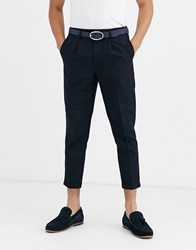 New Look Pleated Crop Trousers In Navy