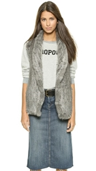 June Shawl Collar Fur Vest Grey