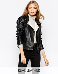 Y.A.S Black Leather Jacket With Contrast White Lapel
