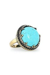 Iosselliani Woman Burnished Gold Tone Turquoise And Crystal Ring Turquoise