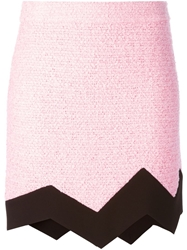 Moschino Cheap And Chic Jagged Tweed Skirt Pink And Purple