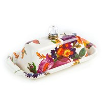 Mackenzie Childs White Flower Market Butter Box