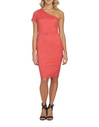 1.State Cap Sleeve One Shoulder Bodycon Dress Orange
