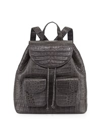 Crocodile Drawstring Backpack Charcoal Grey Nancy Gonzalez