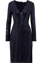 Vanessa Bruno Woman Sequined Chiffon Dress Midnight Blue