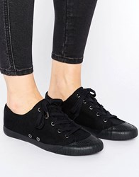 Asos Daisy Chain Lace Up Trainers Black Canvas