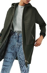 Topshop Women's Airtex Overlay Wool Blend Coat