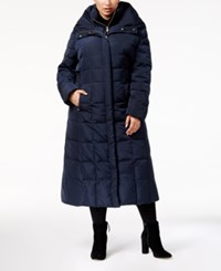 Cole Haan Signature Plus Size Hooded Maxi Puffer Coat Navy