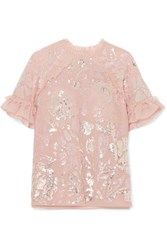 Needle And Thread Tulle Trimmed Sequined Georgette Blouse Baby Pink