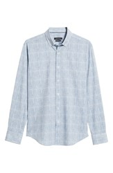 Bugatchi Shaped Fit Check Performance Sport Shirt Navy