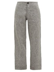 Asceno Antibes High Rise Linen Trousers Grey