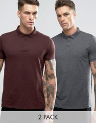 Asos 2 Pack Jersey Polo Shirt In Grey Burgundy Burgundy Charcoal Multi