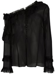 Magda Butrym One Shoulder Blouse Women Silk 42 Black