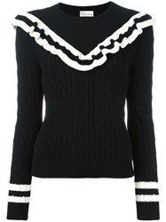 Red Valentino Cable Knit Frill Jumper Black