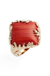 Metal Stone Women's And Coral Set Ring