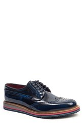 Jared Lang Men's Sandwich Sole Wingtip Oxford Navy