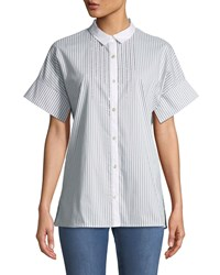 St. John Short Sleeve Striped Button Down Shirt With Sequin Detail White Green