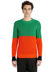 J.W.Anderson Bicolor Chunky Knit Cotton Sweater