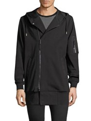 Diesel Black Gold Zip Front Extended Length Military Hoodie Black