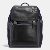 Coach Manhattan Backpack In Sport Calf Leather Black Antique Nickel Midnight B