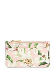 Dolce And Gabbana Mini Lily Print Leather Card Case Gigli Rosa