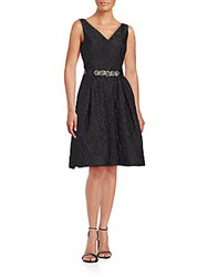 Teri Jon Textured Solid Dress Black