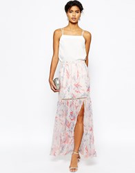 Asos Maxi Skirt In Floral Print With Tiered Lace Inserts Multi