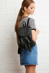 Forever 21 Faux Leather Drawstring Backpack Black