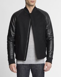 Theory Black Dual Fabric Wool And Leather Padded Ferge Bomber Jacket