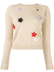 Simone Rocha Floral Embroidered Sweater Nude And Neutrals